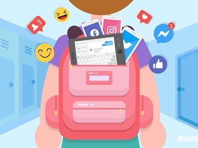 Benefits of Social Media in Schools school backpack like button emojis twitter instagram facebook social media kami flat design vector art vector illustration illustration