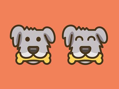Dog with a bone illustrated happy cute bone dog logo