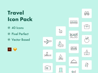 Travel Icons promotion bannerdsign motiondesign hubspot illustrations figma sketch cruse plane iconography iconpack icons enjoying family holidays surfing boating campfire travel holiday