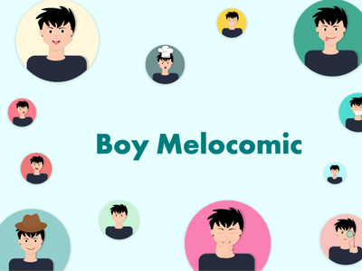 Boy Melocomic icons pack webdesign uidesign figma ai sketch iconography face boy illustrations  wallpaper illustrations/ui illustration art illustraion illustrator illustration emoji emotions stickers icons illustrations