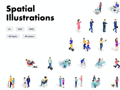 Spatial Illustrations pack uidesign uiux ui campaigns script wordpress hubspot graphic custom branding marketing campaign promotion app web icons illustrations