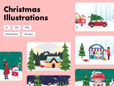 Christmas Illustrations typography branding animations marketing campaign email marketing promotions hubspot theme email blog landing homepage icons pack illustrations icons