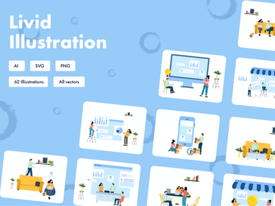Livid illustration campaign promotion ui uxui ux landing homepage home blog email icons pack aillustrator adobe sketch grpahics branding typography illustrations icons
