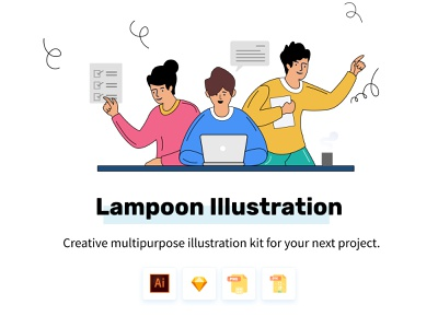 Lampoon Illustrations ui uiux website builder growth cartoon character cartoon marekting promotion illustrations  wallpaper homepage website blog landing home graphic icons illustrations
