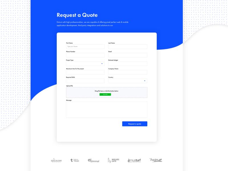 Request A Quote website concept figma illustrator sketchapp file upload request a quote form ui  ux website design