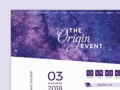The Origin Event space purple genesiswp woocommerce wordpress