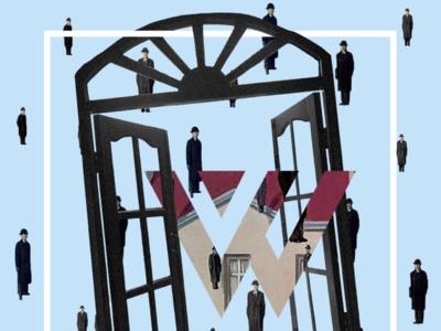 What'zhat classics, Golconde from Magritte art direction artwork artist art classic mashups mash up mashup mash values ecological logo inspiration identity creative branding illustration colored design