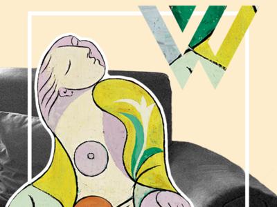 What'zhat Classics, La lecture from Picasso picasso mashups mash up mashup art direction artwork artist art green inspiration illustrator identity creative branding illustration colored design