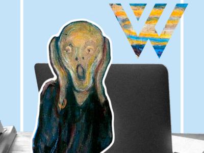 What'zhat classics, Le Cri from Edward Munch combination mascot mash up mashup art direction artwork artist art campaing inspiration typography illustrator identity creative branding illustration colored design
