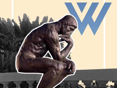 What'zhat classics, le Penseur from Rodin combination mashup art direction artwork artist art illustrator logo inspiration identity creative branding illustration colored design