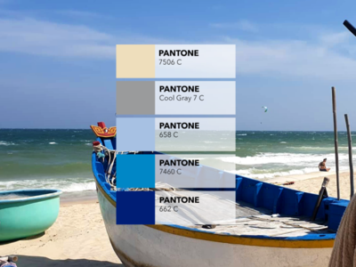 Pantone colors from pictures 🎨: The fishing boats blue and white fish cool gray inspiration identity creative colored fitness pantone picture sea sand beach boat fishing