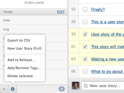 Project Backlog: Preview 5 - Actions webapp scrummage
