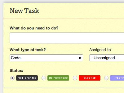 New Task scrummage arvo webapp