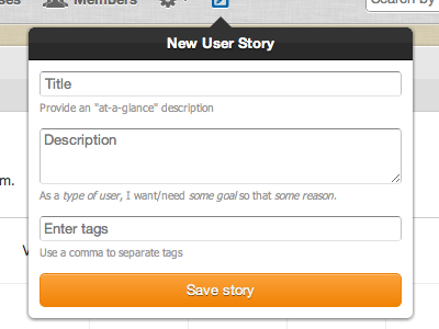 Add a user story from anywhere scrummage webapp
