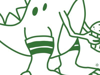 Rawwrr!! dinosaur socks cupcake illustration