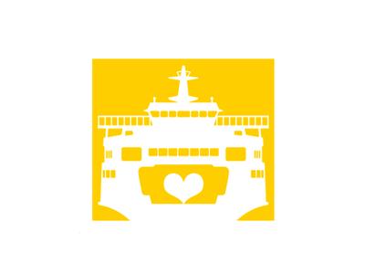 Ferry Tale yellow seattle ferry heart boat ship logo