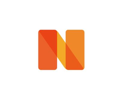 N n uppercase logo orange transparent typography harmonious