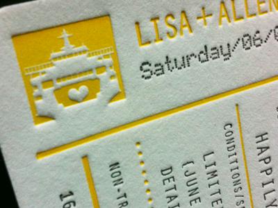 Ferry Tale Ticket heart ferry letterpress wedding ticket yellow boat ship seattle