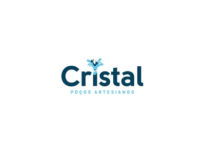 Cristal Artisan Water Well sans serif negative solid crystal logo flow splash water