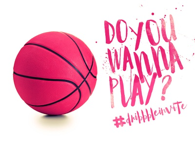 Do you wanna play? behance pink basketball play invitation invite dribbble