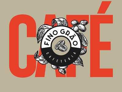 Fino Grão condensed custom type brand logo vintage retro cafe seeds coffee shop coffee