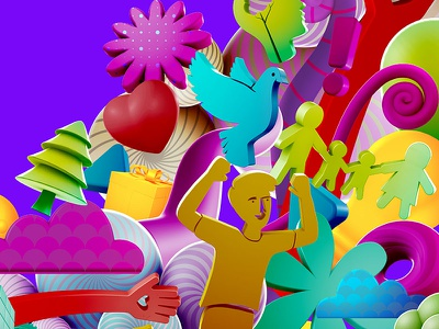Mote for internal campaign cinema4d colorfull 3d