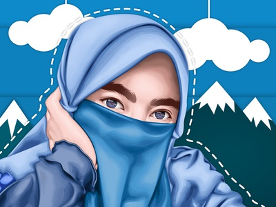 Vector Potrait Cute Blue