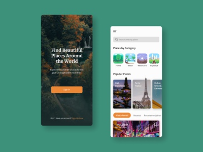 Find Beautiful Places tokyo dubai paris bali mobile design figma userinterface nature minimalist app design