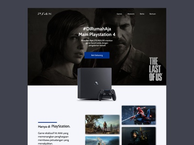 Playstation 4 Pro Landing Page promotion playstation4 gaming games figma website clean minimalist landing page web design userinterface