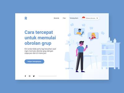 #Exploration - Design using Stubborn Illustration 1/2 website landing page app design ui chat group userinterface minimalist illustration clean web design figma design