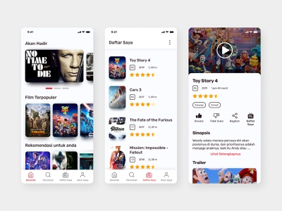 Movie Streaming App Concept - Light Theme light theme streaming app movie app figma ui mobile design minimalist clean app design userinterface