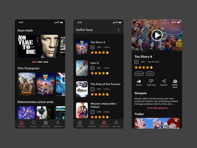 Movie Streaming App Concept - Dark Theme dark theme dark ui dark mode streaming movie figma app minimalist clean mobile design ui userinterface app design