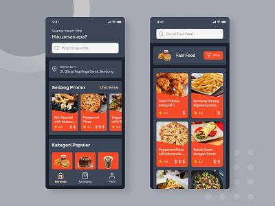 Food Order App Concept - Dark Theme dark mode dark theme delivery app food order food figma app ui mobile design app design userinterface