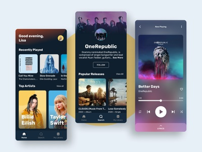 Music Streaming artist interface music ux modern music streaming music app ios android app mobile design ui figma app design userinterface