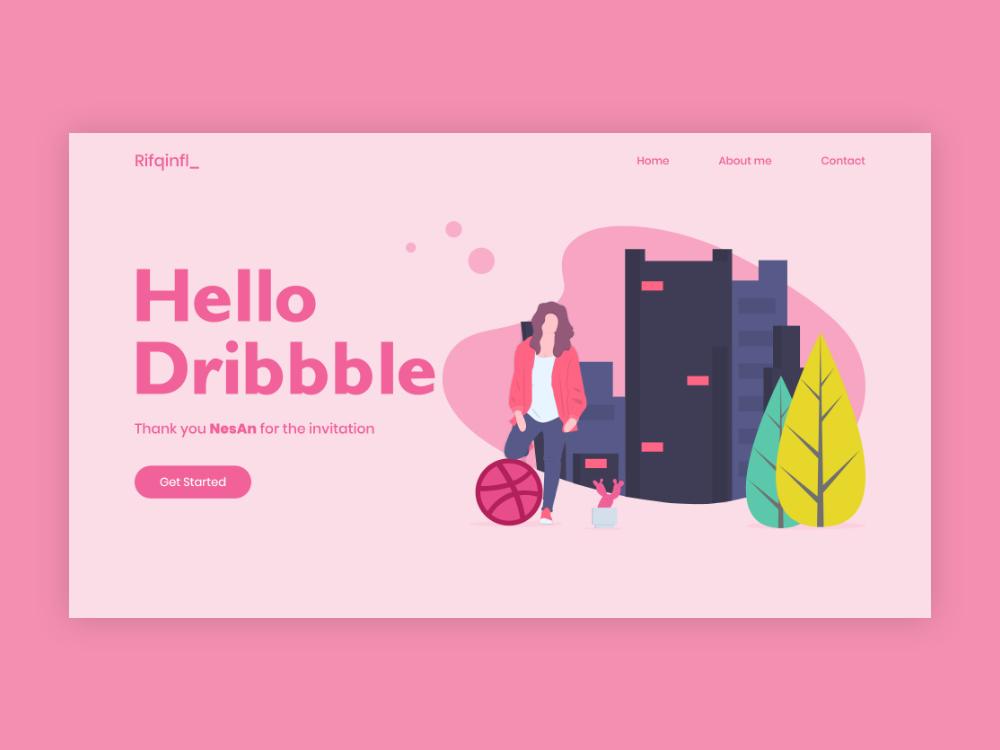 Hello Dribbble adobe xd hello dribbble landing page ui web design