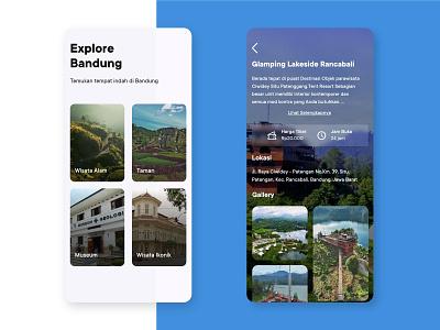 Explore Bandung Mobile App nature turism mobile app minimalist clean adobe xd userinterface app design indonesia bandung