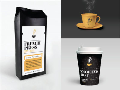 French Press Coffeehouse Proposed Rebrand coffee french press fleur de lis new orleans black and gold cafe yellow cup packaging retail