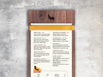 Wakin Bakin Menu Notched Board menu bacon new orleans nola breakfast pig chicken restaurant cafe mid city wood branding