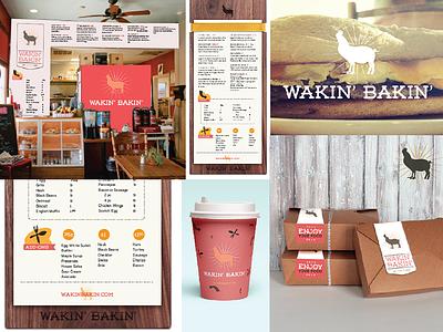 Wakin Bakin Branding menu bacon new orleans nola breakfast pig chicken restaurant cafe mid city wood branding