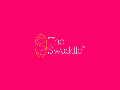 The Swaddle baby swaddle lines mom pink yellow illustration