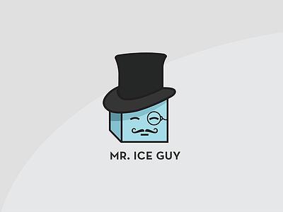 Mr. Ice Guy Logo avatar mascot mustache cube blue monocle top hat fancy logo ice