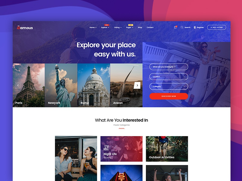 Qamous Home Page Three mohamed arafa themeforest woocommerce template theme wordpress concept classic clean shop simple design ui ux directory website listing flat web minimal