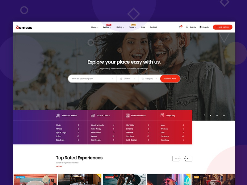 Qamous Home Page Four mohamed arafa themeforest woocommerce template theme wordpress concept classic clean shop simple design ui ux directory website listing flat web minimal