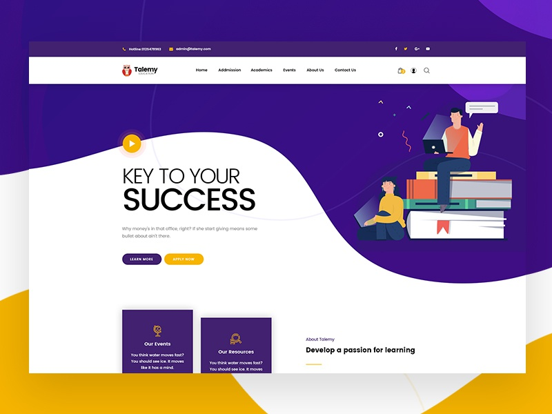 Talemy Home Page mohamed arafa themeforest woocommerce template theme wordpress concept classic clean shop simple design ui ux lms website education flat web minimal