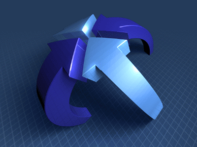 1stOmni icon blue dark arrow 3d render highlight grid