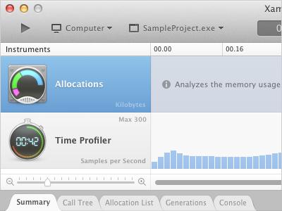 Xamarin Profiler: OS X Mavericks Design