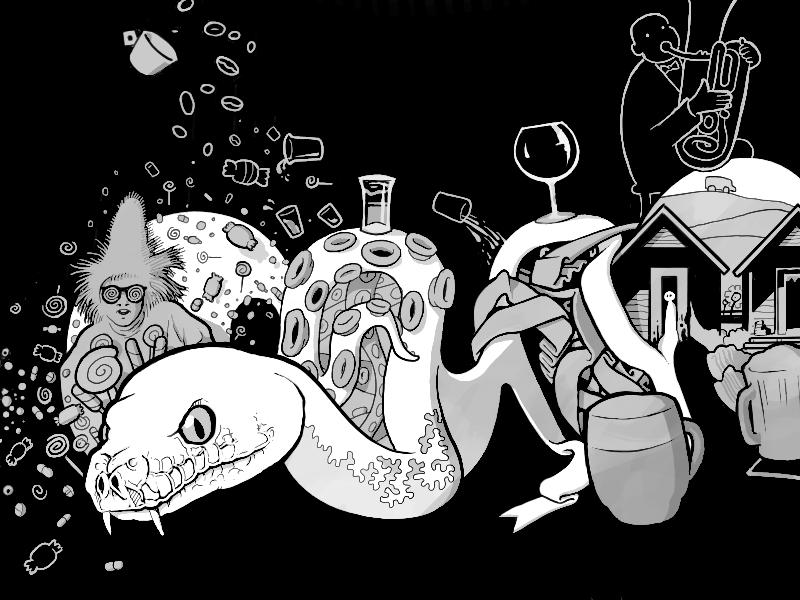 an candy vodka snake wine beer illustration bw