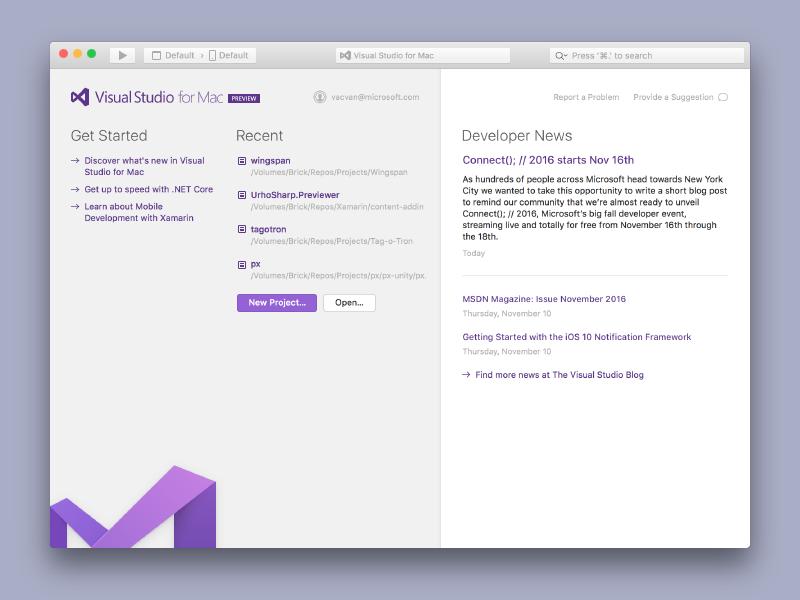 Visual Studio for Mac –Light Theme macos gui visual studio microsoft purple logo application