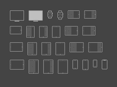 Dark iOS Scaling Matrix watch tv dark outline iphone ipad ios icon device