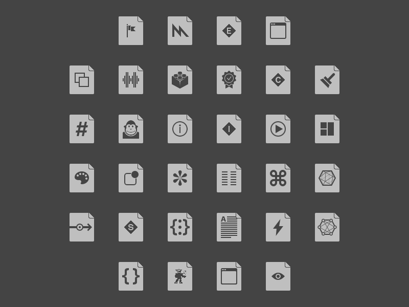 File Type Icons in Dark